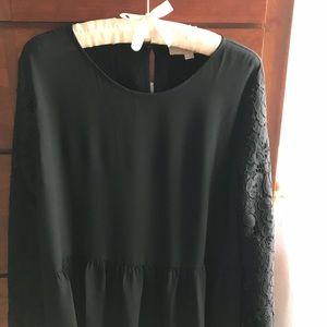 LOFT black peplum top with lace EUC size M